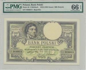 500 złotych 1919 - PMG 66 EPQ - wysoki numerator