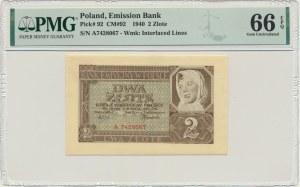 2 złote 1940 - A - PMG 66 EPQ