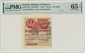 1 grosz 1924 - AF ❉ - lewa połowa - PMG 65 EPQ