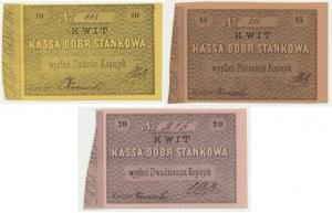 Zestaw Kassa Dóbr Stankowa 10-20 kopiejek podpis Komocki (3 szt.)