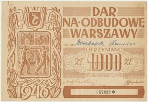 Dar na odbudowę Warszawy, cegiełka na 1.000 złotych 1946