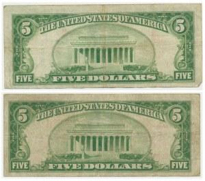 USA, set of 5 dollars 1928 (2 pcs.) - red seal