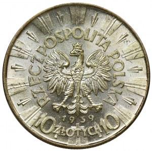 Piłsudski, 10 złotych 1939 - PCGS MS62