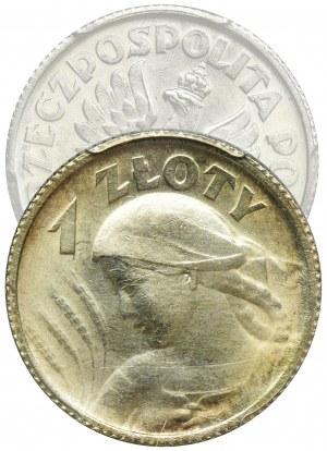 Kobieta i kłosy, 1 złoty Paryż 1924 - PCGS UNC - SKRĘTKA