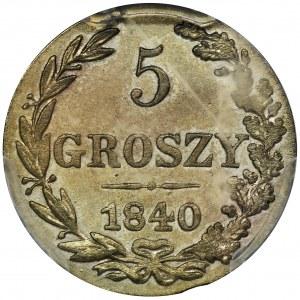 5 groschen Warsaw 1840 MW - PCGS MS63