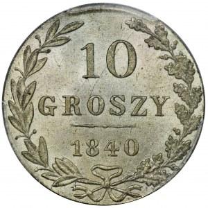 10 groszy Warszawa 1840 MW - PCGS MS66 - PIĘKNE