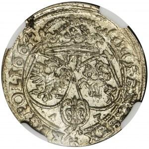 Jan II Kazimierz, Szóstak Bydgoszcz 1664 AT - NGC MS62 - OKAZOWY