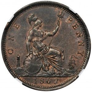 Wielka Brytania, Wiktoria, 1 Pens Londyn 1862 - NGC UNC DETAILS