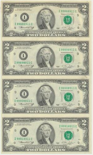 USA, sheet of 2 dollars 1976 (4pcs.)