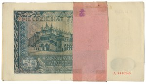 50 złotych 1941 - A - oryginalna paczka bankowa (20szt.)