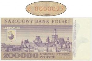 200.000 złotych 1989 - R 0000027 - niski numer seryjny