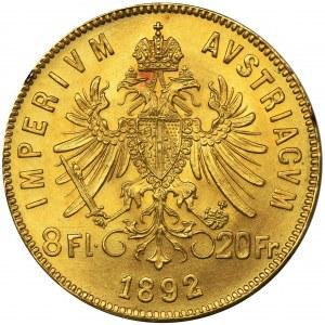 Austria, Franciszek Józef I, 8 Florenów = 20 Franków Wiedeń 1892