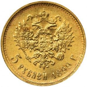 Rosja, Mikołaj II, 5 Rubli Petersburg 1899 ФЗ