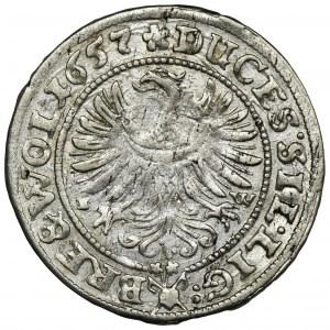 Śląsk, Księstwo Legnicko-Brzesko-Wołowskie, Jerzy III Brzeski, Ludwik IV Legnicki i Krystian Wołowsko-Oławski, 3 Krajcary Brzeg 1657 EW