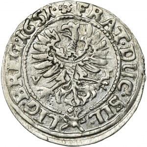 Śląsk, Księstwo Legnicko-Brzesko-Wołowskie, Jerzy III Brzeski, Ludwik IV Legnicki i Krystian Wołowsko-Oławski, 3 Krajcary Brzeg 1651 VT