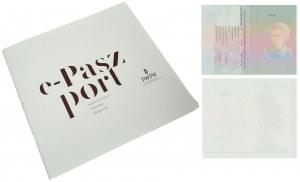 PWPW, rzadki folder do paszportu testowego PWPW Maria Curie Skłodowska + 2 karty do paszportu