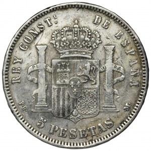 Hiszpania, Alfons XIII, 5 Pesetas 1890