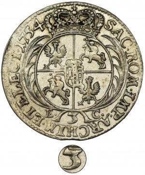August III Sas, Trojak Lipsk 1754 - RZADKI