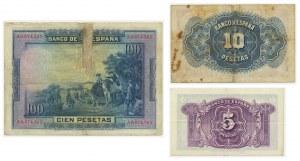 Spain, set of 5-100 pesetas 1928-1935 (3 pcs.)