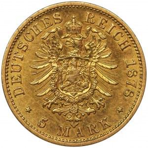 Germany, Kingdom of Prussia, Wilhelm I, 5 Mark Berlin 1878 A