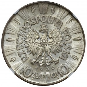 Piłsudski, 10 złotych 1936 - NGC MS65