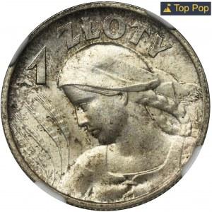 Kobieta i kłosy, 1 złoty Londyn 1925 - NGC MS66+ - ZJAWISKOWA