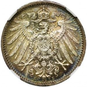Niemcy, Królestwo Prus, Wilhelm II, 1 marka Muldenhütten 1915 E - NGC MS64