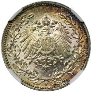 Niemcy, Królestwo Prus, Wilhelm II, 1/2 marki Stuttgart 1915 F - NGC MS65