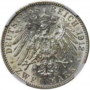 Niemcy, Bawaria, Otto, 2 Marki Monachium 1912 D - NGC AU58