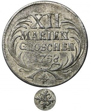 Niemcy, Królestwo Prus, Fryderyk II, 12 Mariengroszy Drezno 1758 - RZADKIE