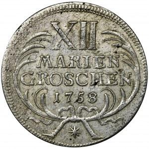 Niemcy, Królestwo Prus, Fryderyk II, 12 Mariengroszy Drezno 1758
