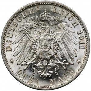 Germany, Wirtemberg, William II, 3 mark Stuttgart 1911 F