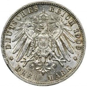 Niemcy, Bawaria, Otto, 3 Marki Monachium 1909 D