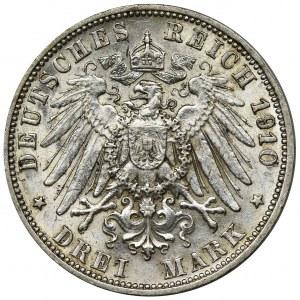 Niemcy, Wirtembergia, Wilhelm II, 3 Marki Stuttgart 1910 F
