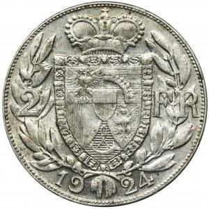 Liechtenstein, Johann II, 2 Francs 1924 - RARE