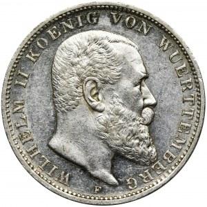 Niemcy, Wirtembergia, Wilhelm II, 3 Marki Stuttgart 1909 F