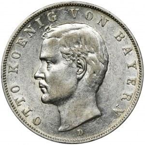 Niemcy, Bawaria, Otto, 3 Marki Monachium 1912 D