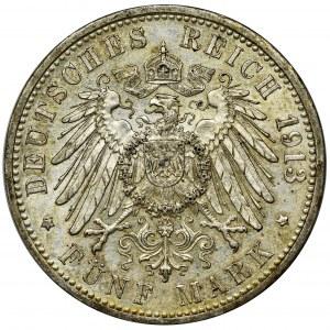 Gemany, Baden, Friedrich II, 5 Mark Karlsruhe 1913 G