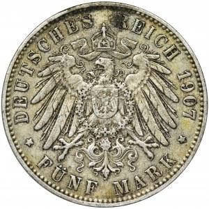 Germany, Hamburg, 5 Mark 1907 J