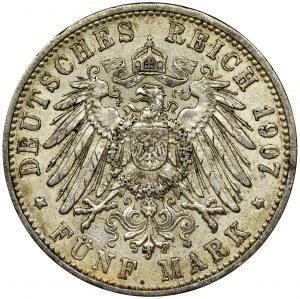 Niemcy, Badenia, Fryderyk I, 5 Marek Karlsruhe 1907 G