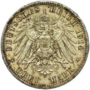 Germany, Anhalt-Dessau, Friedrich II von Anhalt, 3 Mark Berlin 1914 A