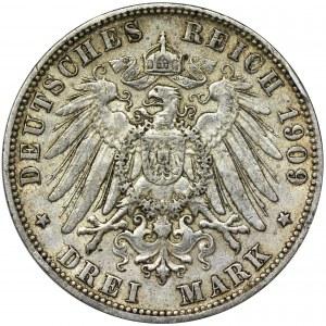 Niemcy, Hamburg, 3 Marki 1909 J
