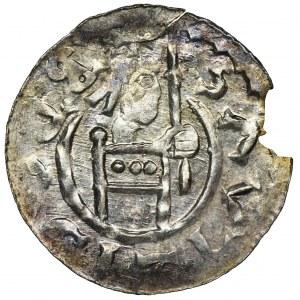 Czechy, Brzetysław II, Denar - obwódka ciągła