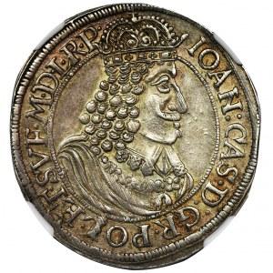 John II Casimir, 1/4 Thaler Thorn 1655 HIL - NGC AU55