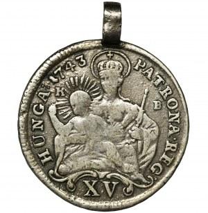 Węgry, Maria Teresa, 15 Krajcarów Kremnica 1743 KB - zawieszka