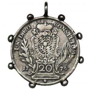Niemcy, Bawaria, Maksymilian III Józef, 20 Krajcarów 1774 - zawieszka w formie biżuterii