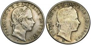 Austria, Franciszek Józef I, 1 Floren Wiedeń i Mediolan 1858 (2 szt.) - komplet spinek