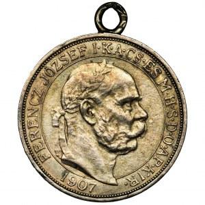 Austria, Franciszek Józef I, 5 Koron Kremnica 1907 - zawieszka