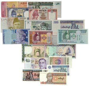 Azja, zestaw banknotów (17 szt.)