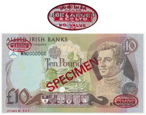 Ireland, 10 pounds 1993 - SPECIMEN - Thomas De La Rue - Specimen No. 008 -